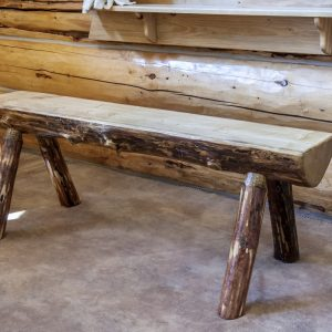 Glacier Half Log Bench 4'