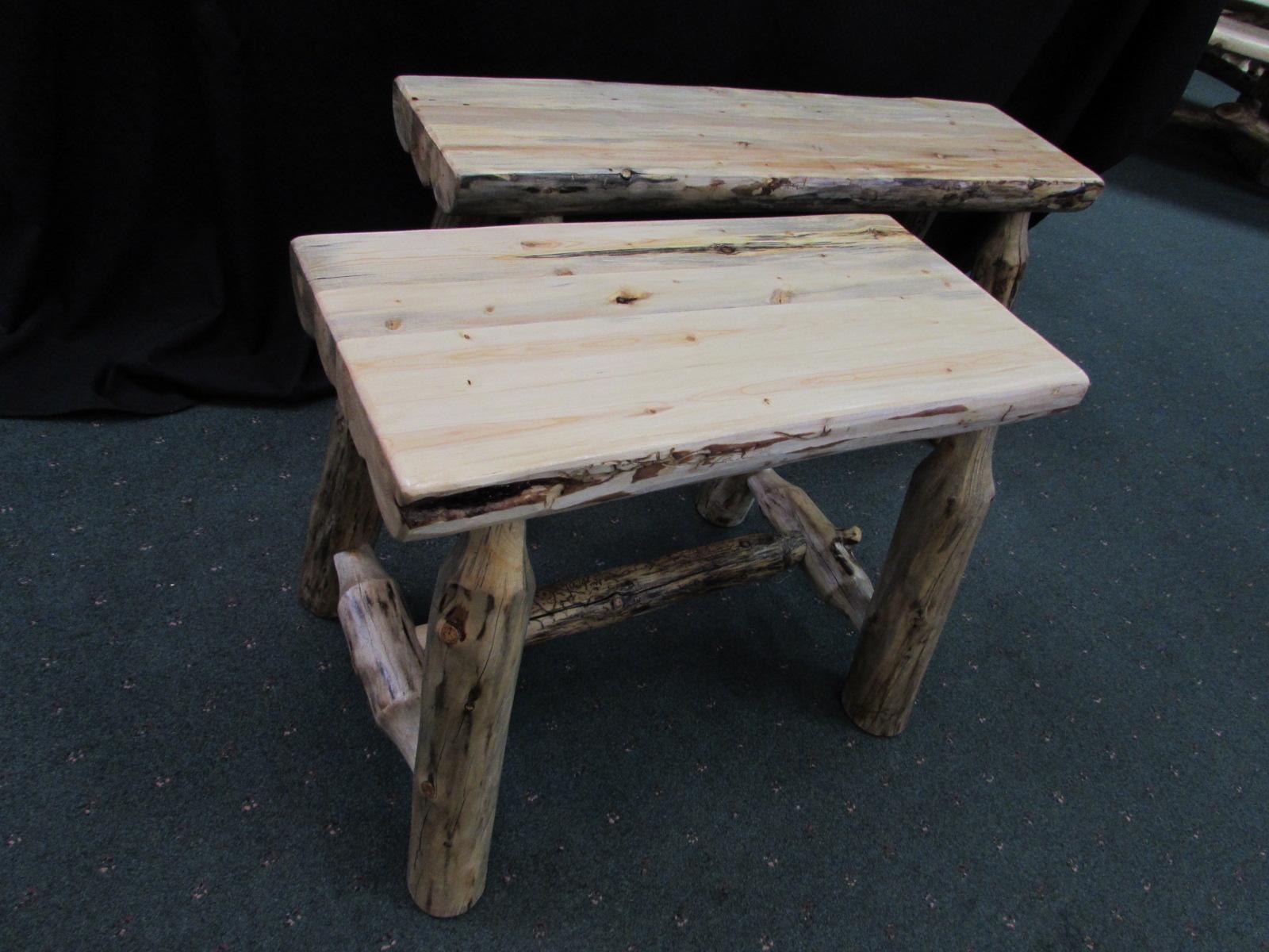 Rustic Pine Laminated Half Log Benches Sisters Log Furniture