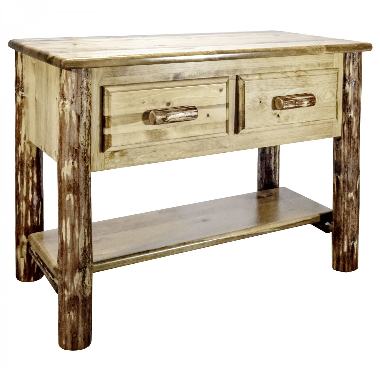 Rustic Pine Console Table w/ 2 Drawers (MW)