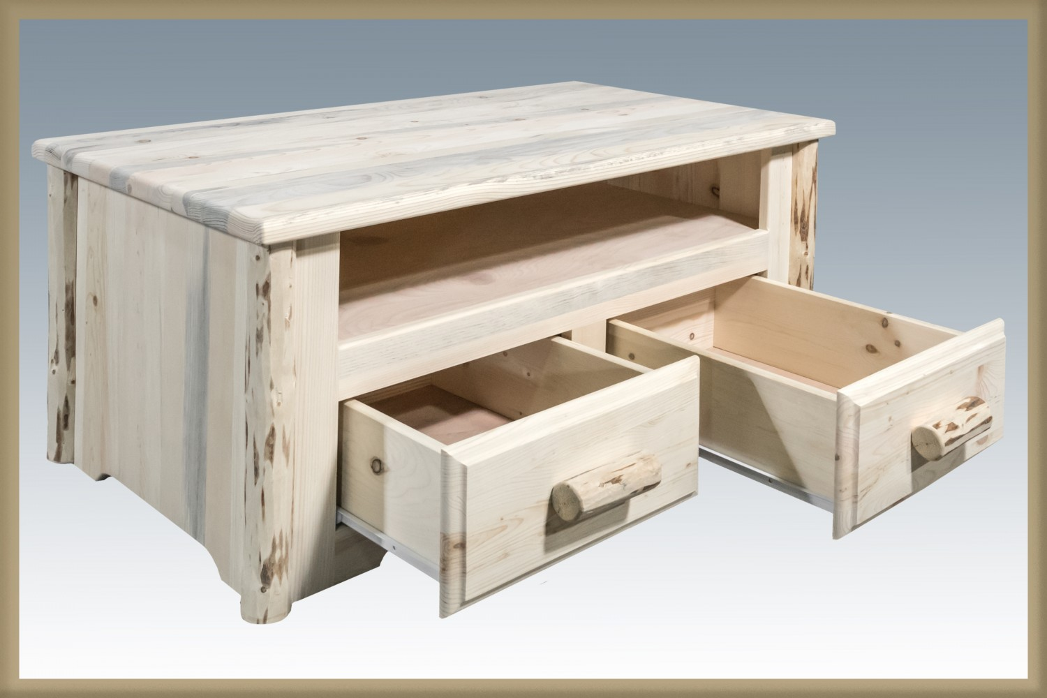 Rustic Pine Coffee Table W 2 Drawers Mw Sisters Log