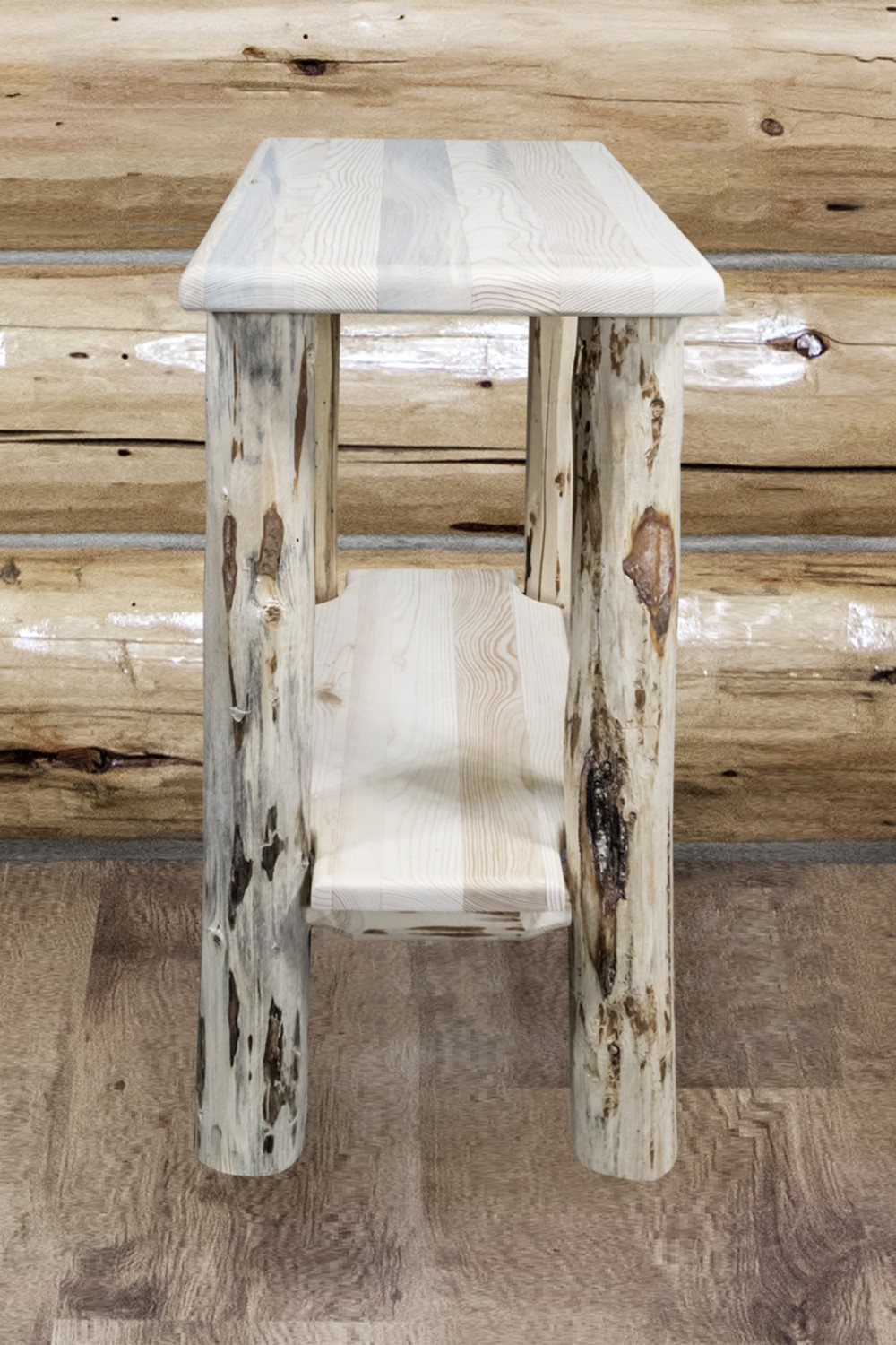 Rustic Pine Chairside Narrow End Tables Mw Sisters Log