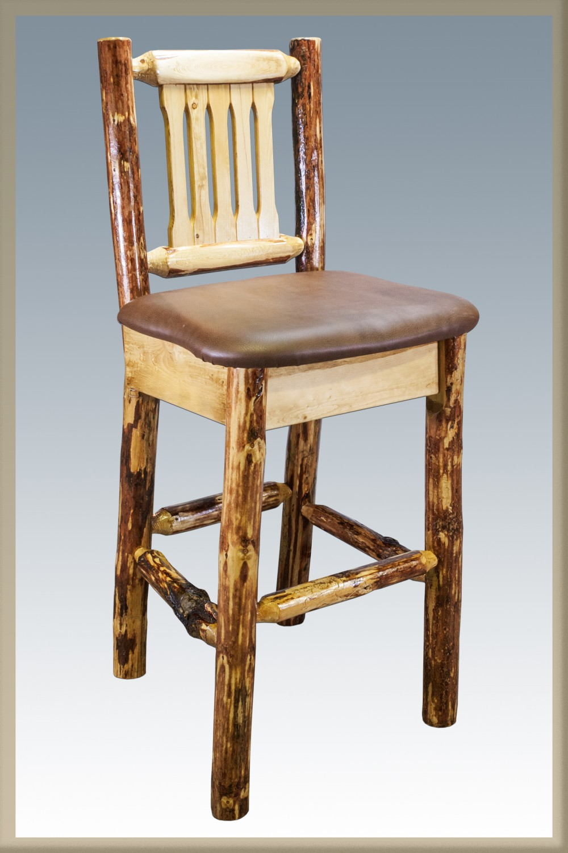 Pine Barstools W Back Amp Swivel Sisters Log Furniture