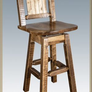 Homestead Barstool STAINED w/ Back & Swivel (Laser)