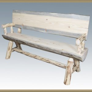 Cascade Half Log Bench w/Back