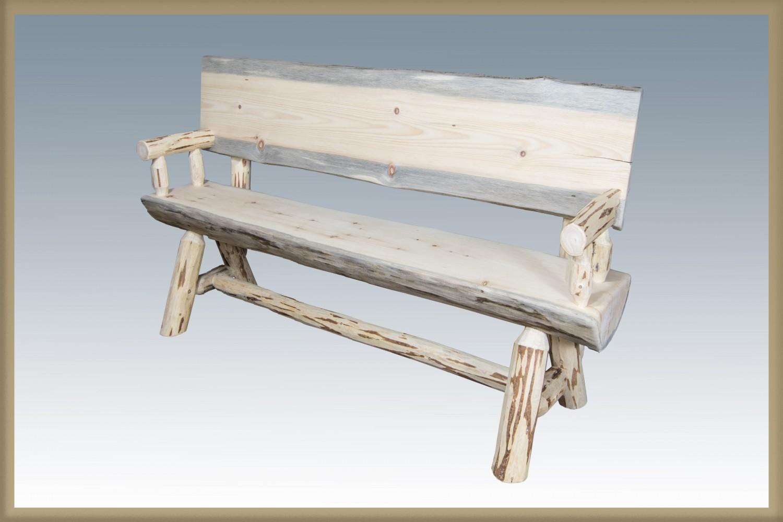 Rustic Pine Half Log Benches w/ Backs