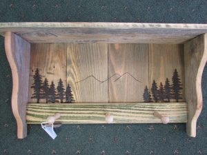 81 Woodburned Trees with Mountains peg