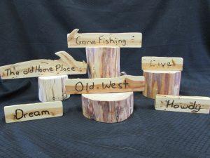 Juniper Woodburned Signs