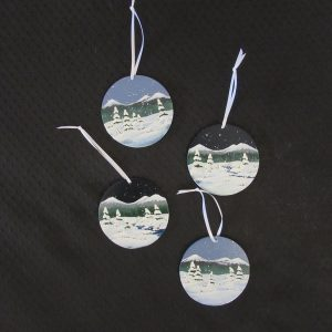 Round Painted Wood Ornaments- Winter