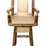 Glacier Captain's Barstool w/ Swivel & Buckskin Upholstery