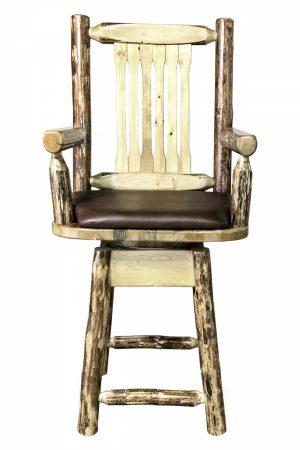 Glacier Captain's Barstool w/ Swivel & Saddle Upholstery