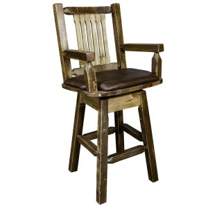 Homestead Barstool Captains w Swivel Saddle (Stained)