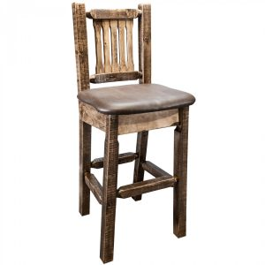 Homestead Barstool w Back Saddle (Stained)