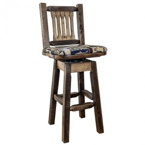 Homestead Barstool w Back & Swivel Woodland (Stained)