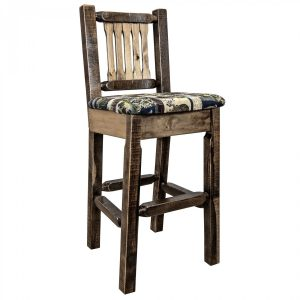 Homestead Barstool w Back Woodland (Stained)