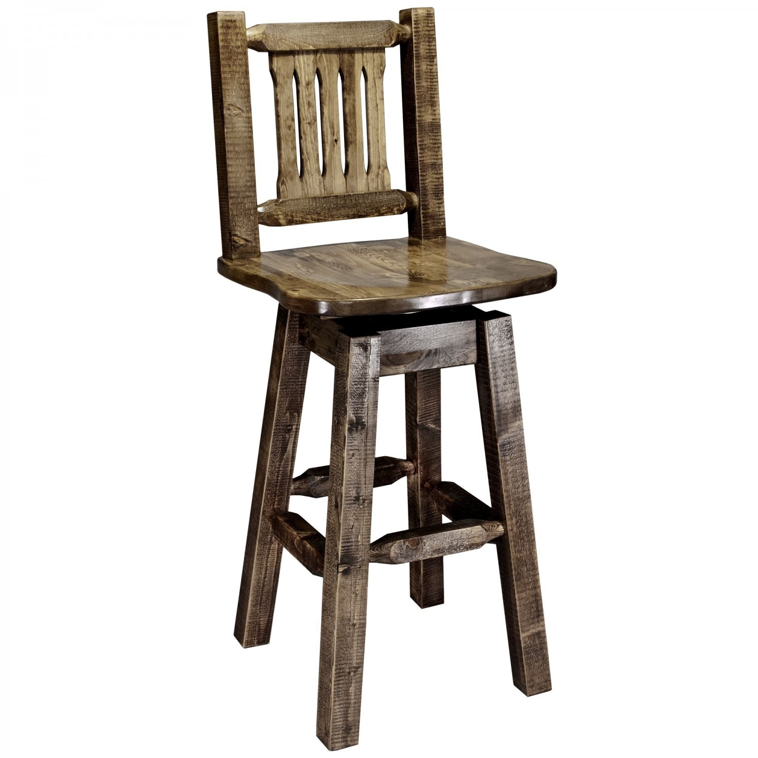 Homestead Barstool w/ Back & Swivel (Stained)