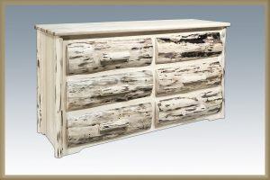 Cascade 6 Drawer Dresser w/ HALF LOG DRAWERS (Clear)