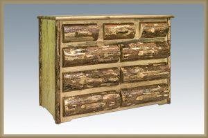 Glacier 9 Drawer Dresser w/ Half Log Drawers