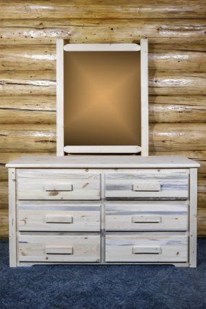 Homestead 6 Drawer Dresser w/ Log Mirror (Clear)