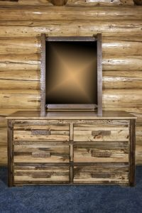 Homestead 6 Drawer Dresser w/ Log Mirror (Stained)