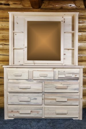 Homestead 9 Drawer Dresser w/ Deluxe Mirror (Clear)