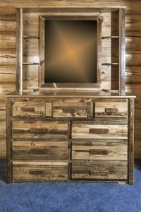 Homestead 9 Drawer Dresser w/ Deluxe Mirror (Stained)