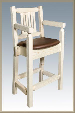 Homestead Captain's Barstool w/ Saddle Upholstery (Clear)