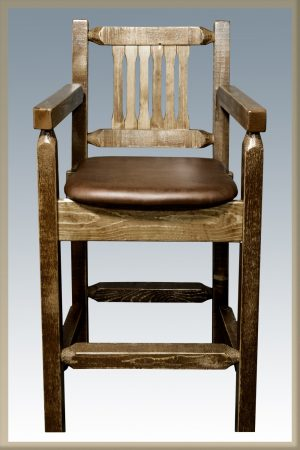 Homestead Captain's Barstool w/ Saddle Upholstery (Stained)