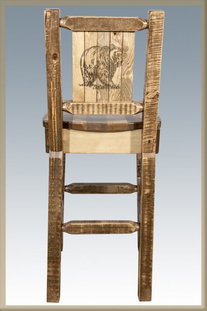 Homestead Barstool w/ Back & Bear Laser (Stained)