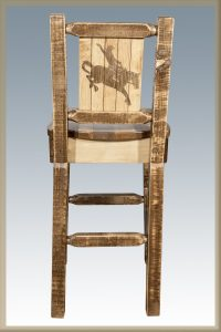 Homestead Barstool w/ Back & Bronc Laser (Stained)