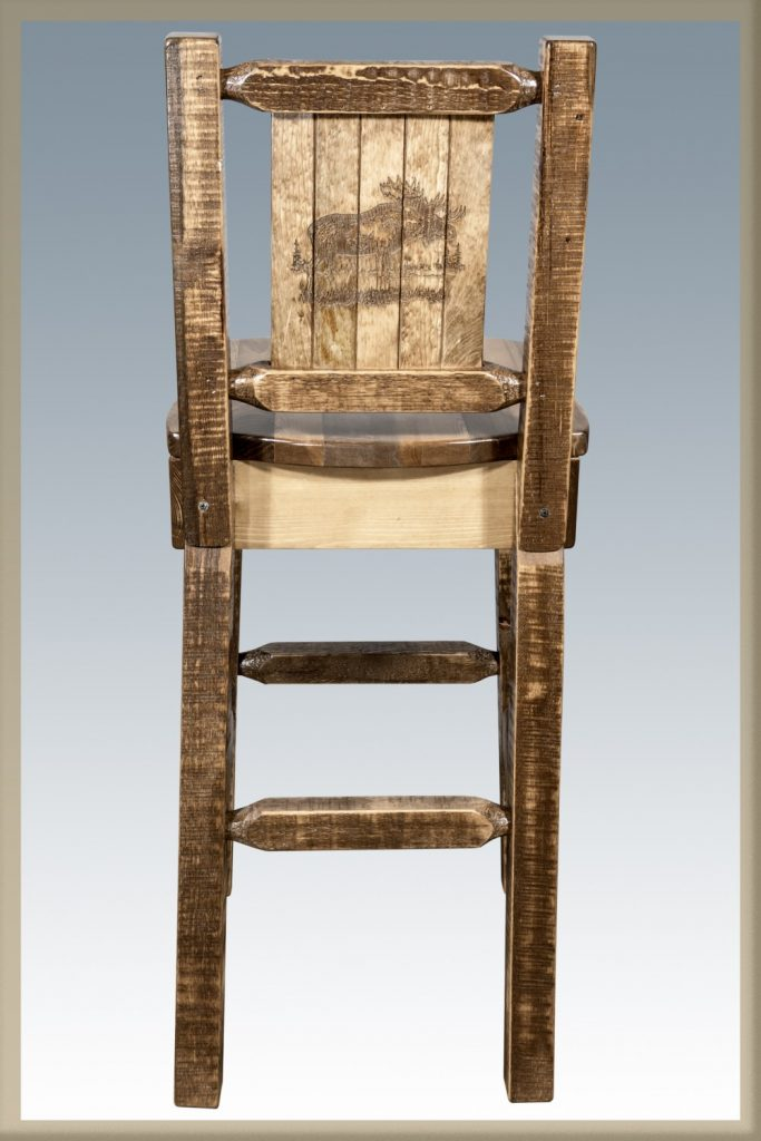 Homestead Barstool w/ Back & Moose Laser (Stained)