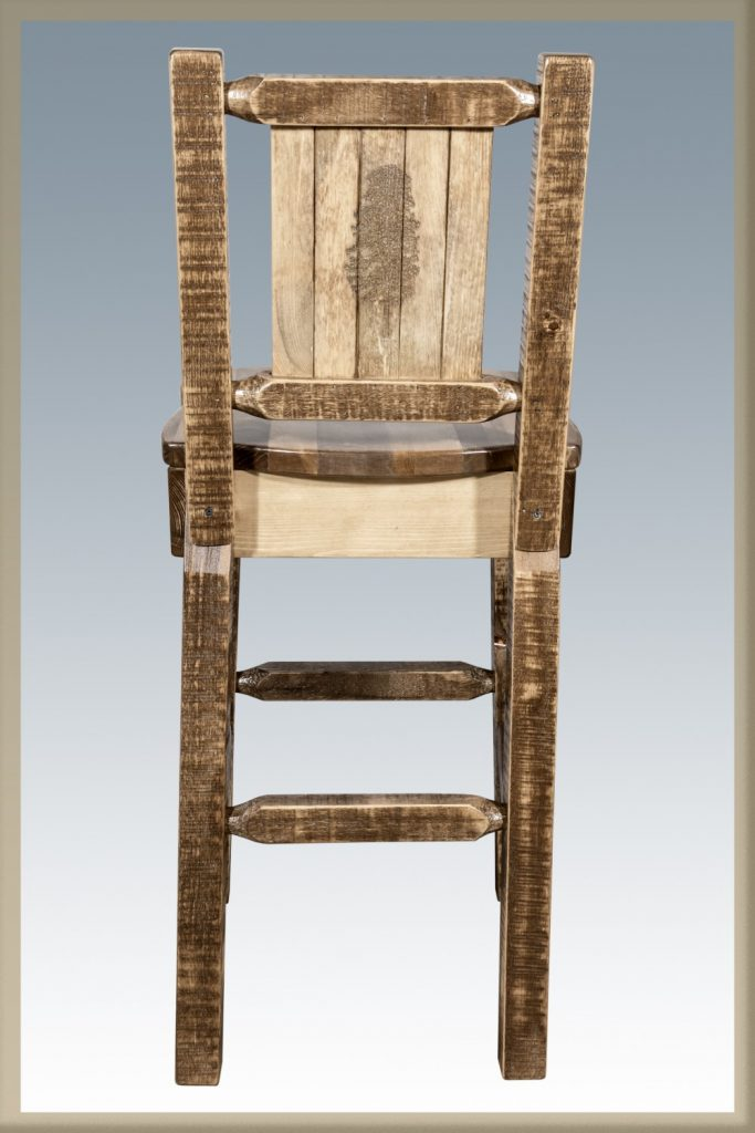 Homestead Barstool w/ Back & Pine Tree Laser (Stained)