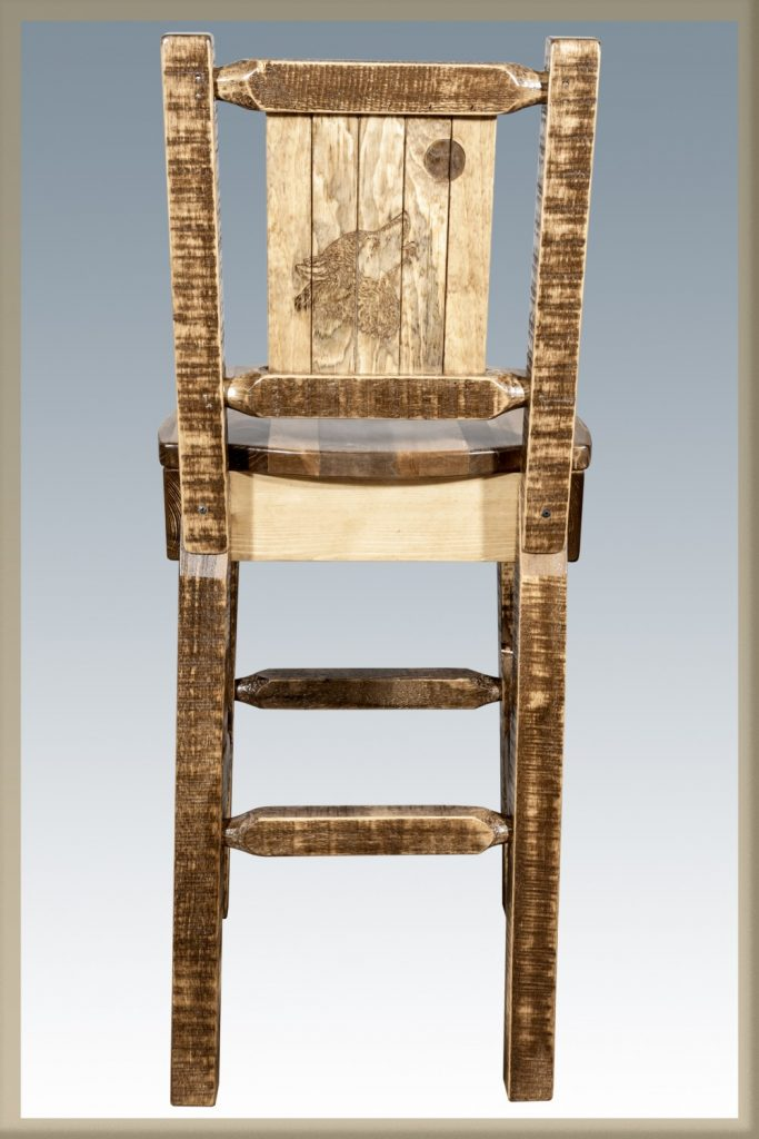 Homestead Barstool w/ Back & Wolf Laser (Stained)