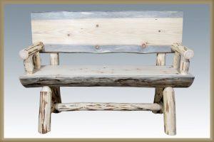 Cascade Half Log Bench w/Back (Clear)
