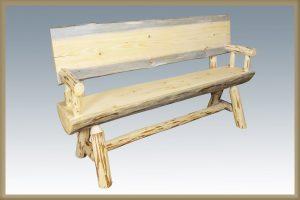 Cascade Half Log Bench w/Back EXT Finish