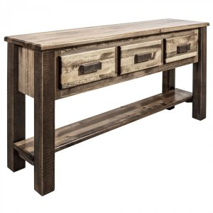 Homestead 3 drawer console table A (stained)