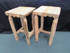 Rustic Pine Accent Tables No Shelf a