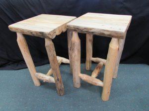 Rustic Pine Accent Tables No Shelf c