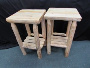 Rustic Pine Accent Tables with Shelf a