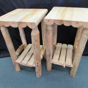 Rustic Pine Accent Tables with Shelf b