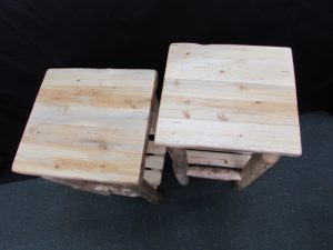 Rustic Pine Accent Tables with Shelf c
