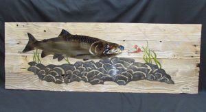 Salmon Mounted On Wood 368