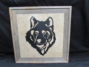 Framed Wolf Head 380