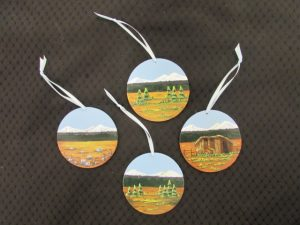 Round Painted Wood Ornaments- Summer