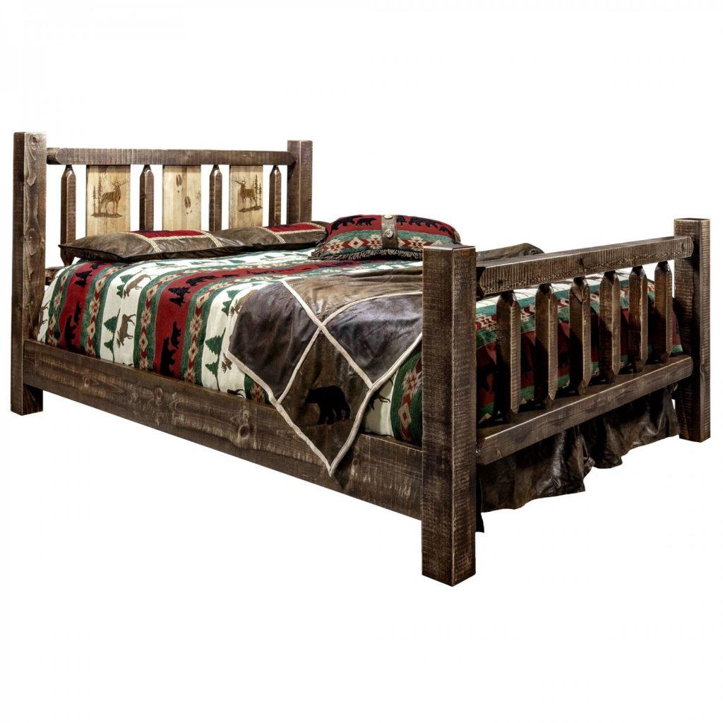 Homestead Bed Elk Laser (Stained)