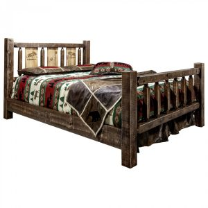 Homestead Bed Moose Laser (Stained)